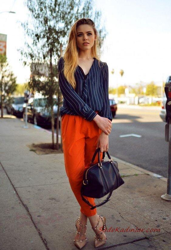 2019 Şalvar Pantolon Kombinleri Turuncu Pantolon Lacivert Uzun Kollu Çizgili Gömlek Vizon Stiletto Ayakkabı