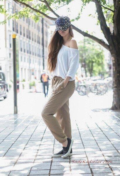 2019 Şalvar Pantolon Kombinleri Vizon Cepli Pantolon Beyaz Uzun Kollu Omuz Dekolteli Bluz Siyah Babet Ayakkabı