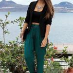 2020 Şalvar Pantolon Kombinleri Yeşil Pantolon Siyah Büstiyer Kısa Ceket Kahverengi Parmak Arası Sandalet