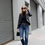 2019 Şık Kombin Önerileri Lacivert Yırtık Kot Pantolon Siyah Boğazlı Kazak Kısa Deri Ceket Stiletto Ayakkabı