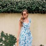 2019 Şık Kombin Önerileri Mavi Midi Askılı Fırfırlı Desenli Elbise