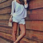 2019 Şort Kombinleri Beyaz Kısa Şort Uzun Kol Şifon Gömlek Topuklu Kısa Bot