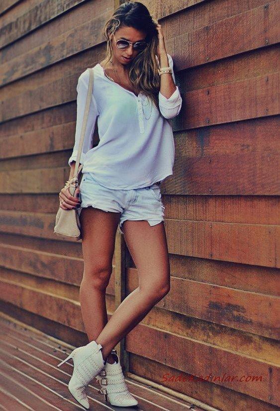 2020 Şort Kombinleri Beyaz Kısa Şort Uzun Kol Şifon Gömlek Topuklu Kısa Bot