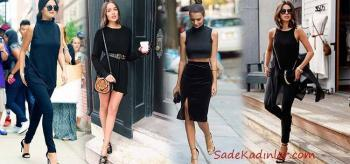 Bayanlar İçin Siyah Spor Kıyafet Kombinleri 2019