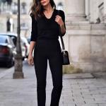 Siyah Kombin Önerileri Kalem Pantolon Yetim Kol V Yaka Bluz Vizon Stiletto Ayakkabı