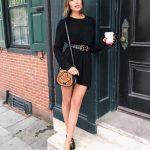 Siyah Kombin Önerileri Kısa Uzun Kollu Kemerli Triko Elbise Önü Kapalı Terlik