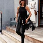 Siyah Kombin Önerileri Skinny Kot Pantolon Kolsuz Kayık Yaka Bluz Stiletto Ayakkabı