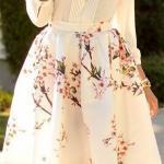 2019 Bayan İlkbahar Yaz Kombinleri Beyaz Kısa Kloş Desenli Etek Uzun Kol Gömlek Stiletto Ayakkabı