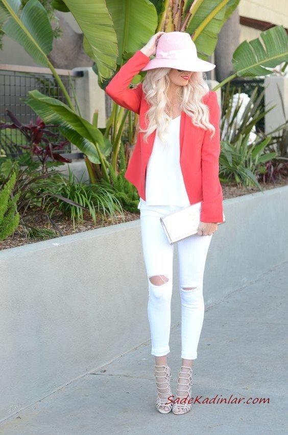 2019 Bayan İlkbahar Yaz Kombinleri Beyaz Yırtık Skinny Pantolon V Yaka Bluz Mercan Kısa Ceket Krem Stiletto Ayakkabı