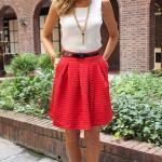 2019 Bayan İlkbahar Yaz Kombinleri Kırmızı Kısa Cepli Etek Beyaz Kolsuz Bluz Siyah Stiletto Ayakkabı