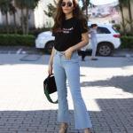 2019 Bayan İlkbahar Yaz Kombinleri Mavi İspanyol Paça Pantolon Kot Pantolon Siyah Kısa Kollu Bluz Gri Topuklu Ayakkabı