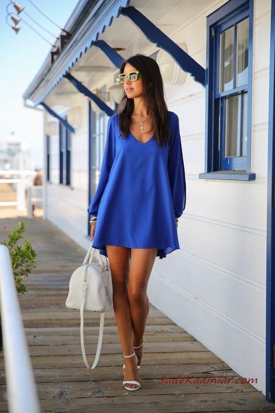2019 Bayan İlkbahar Yaz Kombinleri Saks Mavi Kısa V Yakalı Uzun Kollu Elbise Beyaz Topuklu Ayakkabı