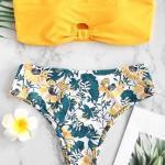 2019 Bikini Modelleri Sarı Straplez Desenli