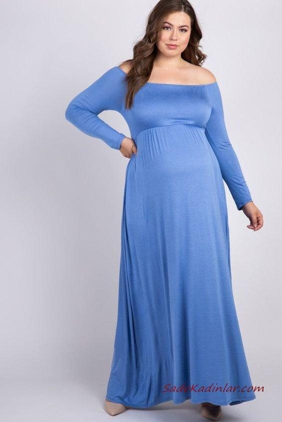2019 Hamile Elbiseleri Mavi Uzun Geniş Yaka Kloş Etekli Uzun Kollu Sade