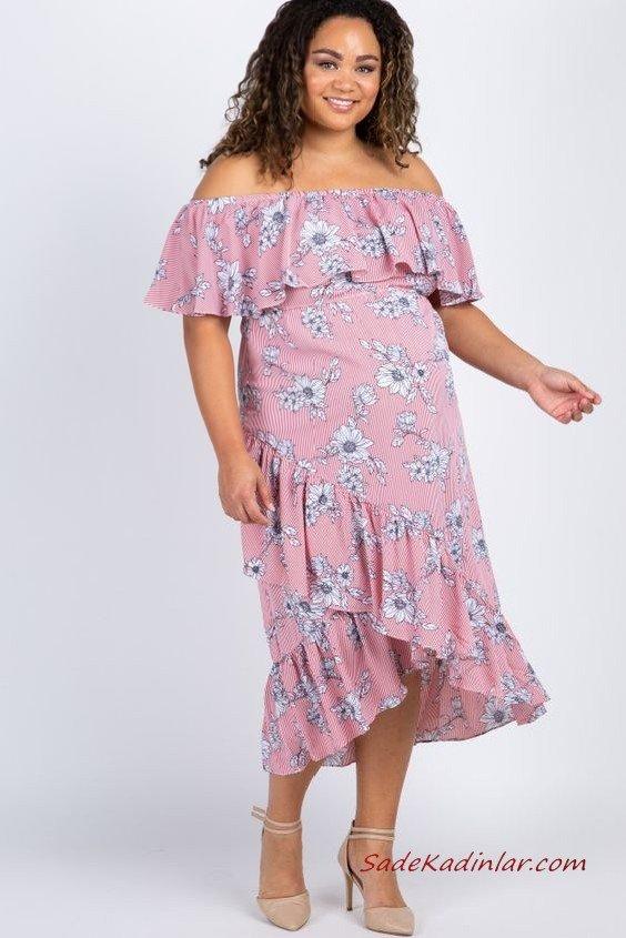 2019 Hamile Elbiseleri Pembe Midi Straplez Düşük Kollu Fırfırlı Yaka Çiçek Desenli