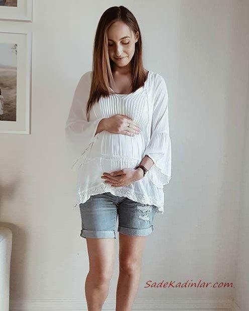 2019 Hamile Kıyafetleri Mavi Kısa Kot Şort Beyaz Uzun Kollu Salaş Gömlek