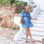 2019 Hamile Kıyafetleri Mavi Kısa Omuz Açık Düşük Kısa Kol Büzgülü Yaka Elbise Vizon Gladyatör Sandalet Ayakkabı