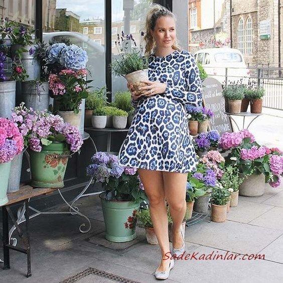 2019 Hamile Kıyafetleri Mavi Kısa Uzun Kollu Desenli Elbise Gri Babet Ayakkabı