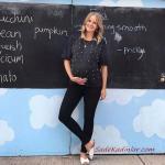 2019 Hamile Kıyafetleri Siyah Kot Pantolon Kısa Kollu İncili Bluz Beyaz Terlik