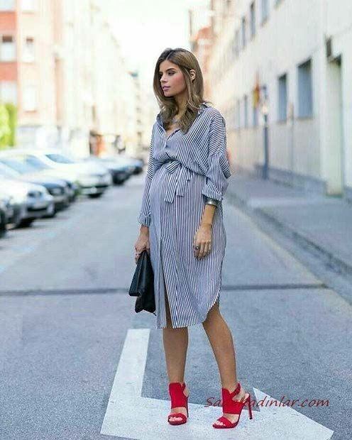 2021 Hamile Kıyafet Kombinleri Siyah Midi Uzun Kol Çizgili Gömlek Elbise Kırmızı Stiletto Ayakkabı