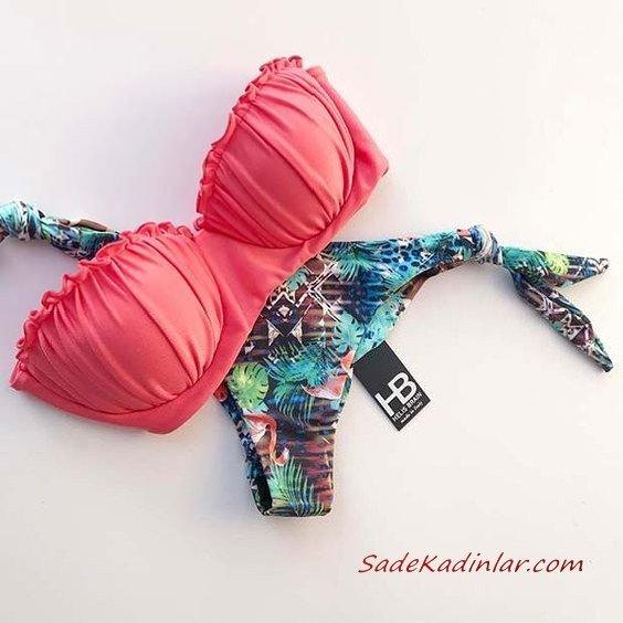 2020 Mayo Modelleri Pembe Deniz Kabuğu Üst Desenli Yeşil Alt Bikini