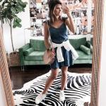 2019 Spor Kombinler Lacivert Kısa Askılı Kot Elbise Beyaz Spor Ayakkabı