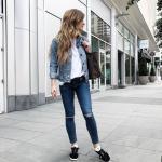 2020 Spor Kombinler Lacivert Yırtık Jean Beyaz Bluz Mavi Kısa Kot Ceket Siyah Spor Ayakkabı