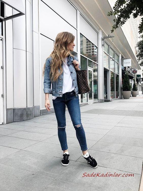 2019 Spor Kombinler Lacivert Yırtık Jean Beyaz Bluz Mavi Kısa Kot Ceket Siyah Spor Ayakkabı