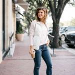 2019 Spor Kombinler Mavi Kot Pantolon Beyaz Bluz Şişme Yelek Pembe Spor Ayakkabı