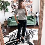 2019 Spor Kombinler Siyah Cepli Kalem Pantolon Gri Kısa Kollu Tişört Siyah Spor Ayakkabı