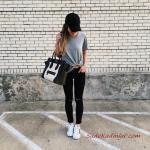 2020 Spor Kombinler Siyah Kot Pantolon Gri Kısa Kollu Tişört Beyaz Spor Ayakkabı Siyah El Çantası