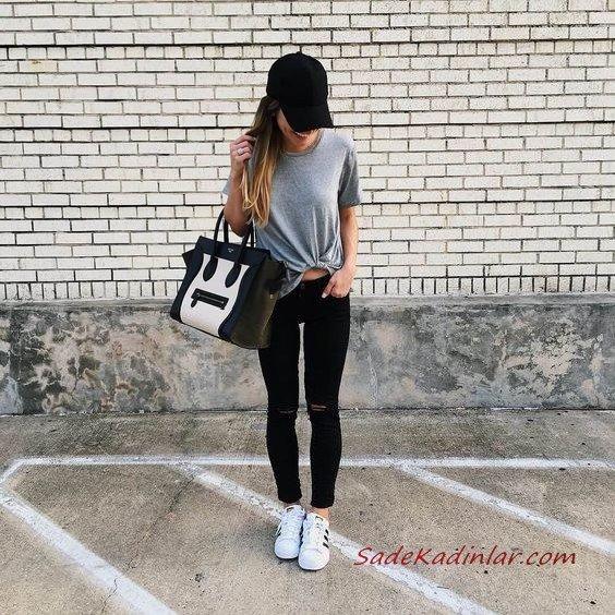 2019 Spor Kombinler Siyah Kot Pantolon Gri Kısa Kollu Tişört Beyaz Spor Ayakkabı Siyah El Çantası