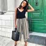 2019 Yaz Kombinleri Siyah Capri Bol Paça Çizgili Pantolon Askılı V Yaka Bluz Topuklu Ayakkabı