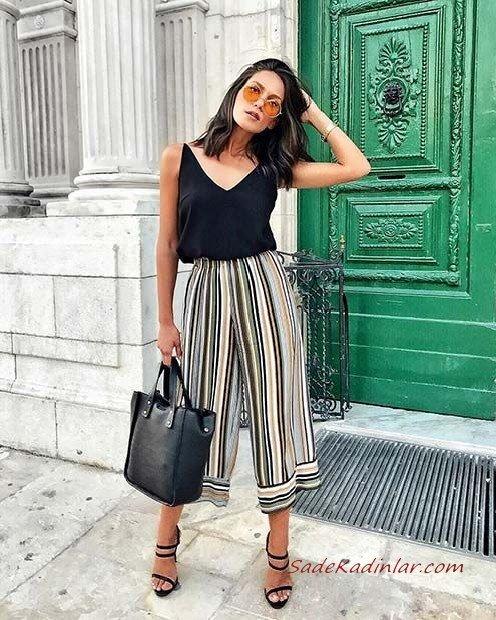 2020 Yaz Kombinleri Siyah Capri Bol Paça Çizgili Pantolon Askılı V Yaka Bluz Topuklu Ayakkabı
