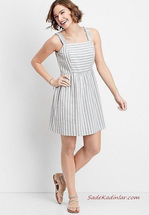 2019 Yazlık Elbise Modelleri Gri Kısa Askılı Kare Yaka Çizgi Desenli Krem Sandalet Ayakkabı