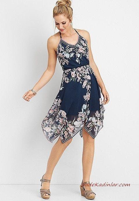 2019 Yazlık Elbise Modelleri Lacivert Kısa İp Askılı V Yakalı Desenli Gri Dolgu Topuk Ayakkabı