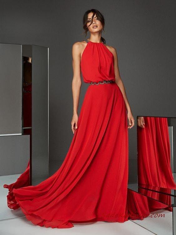 2020 Pronovias Abiye Modelleri Kırmızı Uzun Halter Yaka Kloş Etekli Kemerli