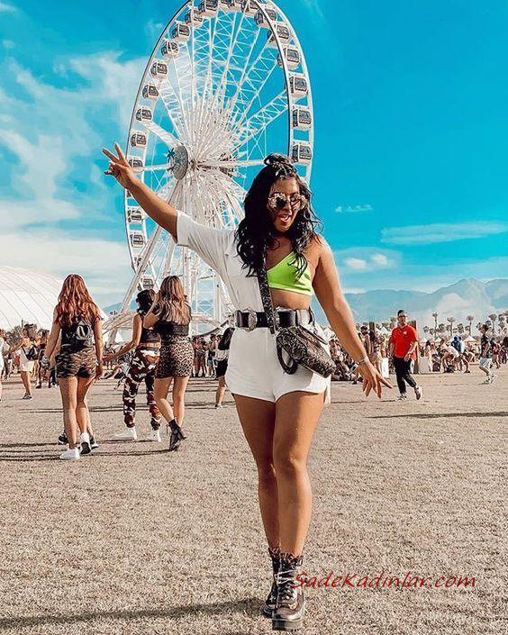 Bayanlar İçin Festival Kombinleri Beyaz Kısa Kot Şort Neon Yeşil Büstiyer Tek Kollu Bluz