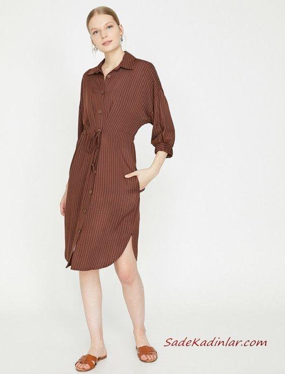 2019 Yazlık Elbise Modelleri Koton Kahverengi Dizboyu Çizgili Düğmeli