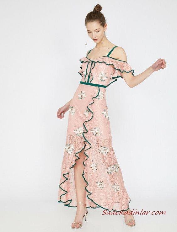 2019 Yazlık Elbise Modelleri Koton Uzun Askılı Desenli Fırfırlı Yırtmaçlı