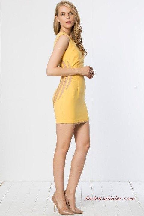 2019 Yazlık Elbise Modelleri Sarı Kısa Kolsuz Yandan Nakış İşlemeli