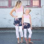 2020 Anne Kız Kıyafet Kombinleri Beyaz Capri Pantolon Lila Kolsuz Desenli Bluz