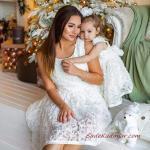 2020 Anne Kız Kıyafet Kombinleri Beyaz Mini Askılı İşlemeli Elbise