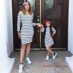 2020 Anne Kız Kıyafet Kombinleri Beyaz Mini Omzu Açık Uzun Kollu Çizgili Elbise