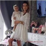 2020 Anne Kız Kıyafet Kombinleri Beyaz Mini Yetim Kolu Nakışlı Elbise