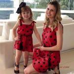 2019 Anne Kız Kıyafetleri Kırmızı Mini Askılı Puantiye Desenli Elbise