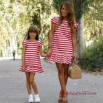 2020 Anne Kız Kıyafet Kombinleri Kırmızı Mini Kısa Kollu Çizgili Elbise