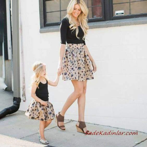 2019 Anne Kız Kıyafetleri Krem Mini Kloş Desenli Etek Siyah Bluz