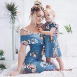 2019 Anne Kız Kıyafetleri Mavi Mini Askılı Çiçek Desenli Elbise