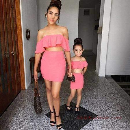 2019 Anne Kız Kıyafetleri Mercan Mini Etek Strapez Düşük Kol Fırfırlı Yaka Büstiyer